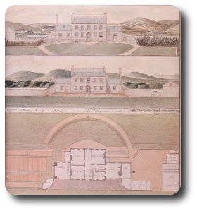 The Joseph Priestley House in Northumberland, PA, just up the Susquehanna River from Dickinson College. This drawing--the Lambourne Plan (1800)--was only rediscovered in 1983 in the Royal Society Archives in London; the house remains substantially the same today. It contains the laboratory in which Priestley identified carbon monoxide and the room that once housed his library of over 1,500 volumes, one of the largest in America at the time.